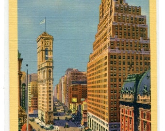 Times Square Paramount Building New York City 1940s postcard