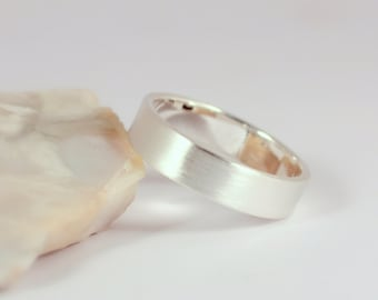 5mm x 1.25mm Brushed Silver Band Ring, Sterling Silver, Made to Order
