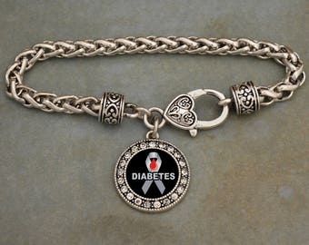 Diabetes Ribbon Awareness Rhinestone Charm Bracelet