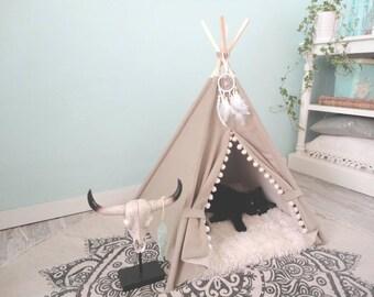 Pet teepee including fake fur pillow, dog bed, tent, tipi, dog home, tepee, wigwam, urban living.