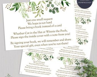 Greenery Baby Shower Bring A Book Card Greenery Baby Shower Game Greenery Book in Lieu Card Bring A Book Instead - 2016 INSTANT DOWNLOAD