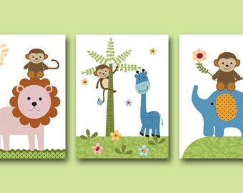 Elephant Nursery Giraffe Nursery Monkey Nursery Baby Nursery Decor Baby Boy Nursery Kids Wall Art Nursery Print Boy Print set of 3 Green