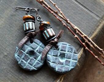Rustic Boho Earrings, Southwest Stoneware Earrings, Earthy Handcrafted Ceramic Earrings, Turquoise Orange, Ethnic Disk Earrings, Bohemian