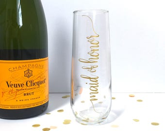 Maid of Honor Bride Champagne Flute Personalized Bride Bridesmaid Wedding Glass - Gold Stemless Champagne Flutes