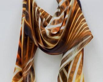 Silk Scarf,Silk Chiffon,Wearable Art, Summer Scarf, Designer Scarf, Gift For Her, Fashion Scarf,Scarf,Collectible,Digital Art,Art,Long Scarf