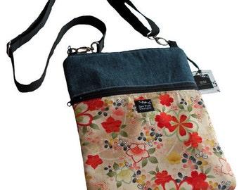 Japanese Asian Red Flower Fabric Denim iPad Kindle Nook E Reader Sleeve Passport Travel  Messenger Bag  Sling Purse Washable