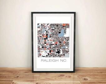 Raleigh NC Art, Raleigh NC, Raleigh Map, Raleigh Print, Home Decor, City Map, Map Art