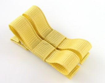 Dijon Yellow Hair Clips Basic Tuxedo Bow - Set of 2 - Matching Pair Alligator Barrettes for Babies Toddlers Girls