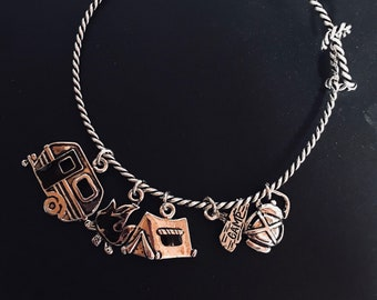 Camping charm bracelet