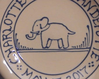 """7"""" Personalized Child Birth Plate -  Baby Gift New Baby Elephant - Stoneware Pottery"""