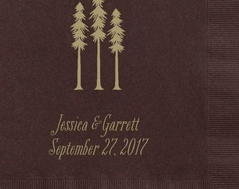 100 Personalized Napkins Beverage & Luncheon Size Available Wedding Napkins Shower Engagement Custom Monogram Redwood Tree Country Rustic