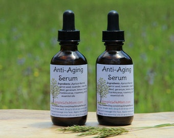 ANTI AGING SERUM - 100% natural, anti wrinkle, anti aging skin care with Essential Oils by moisturizing and nourishing skin