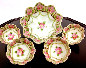 Nippon Hand Painted Footed Nut Bowl Set  Porcelain