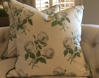 """Colefax and Fowler classic """"Bowood"""" floral pillow cover in soft grey, green on ecru cotton with grey linen trim and backing!"""