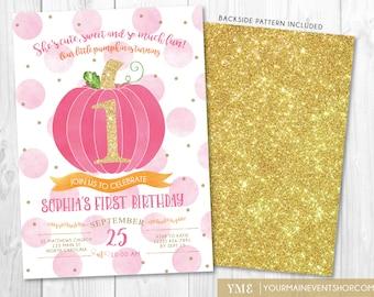 Pumpkin Birthday Invitation • 1st Fall Autumn Halloween Girl Pumpkin First Birthday Invite Printable