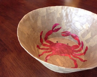 A little crabby, recycled bowl, upcycled bowl, paper mache bowl