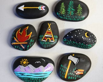 Set of 7 Outdoor Camping Wildlife Party Table Decorations Reusable Stones Favors Natural Camp Fire Woodland Scavenger Hunt Sleepover Tee Pee