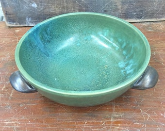 Wheel Thrown Pottery Medium serving bowl in Weathered Bronze with 3 handles