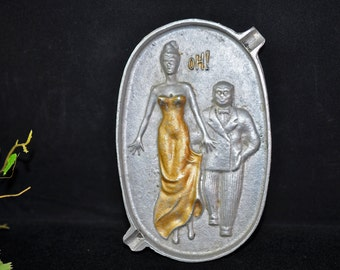 Cool Risque Ashtray, 1950s, Vintage Ash tray, Lady and Man, Antique ashtray, #1055