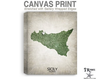 Sicily Map Stretched Canvas Print - Home Is Where The Heart Is Love Map - Original Personalized Map Print on Canvas