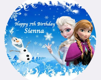 """Frozen Elsa Anna Olaf  Princess personalised Cake Topper Edible Wafer Paper 7.5"""""""