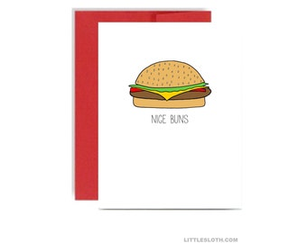 Nice buns funny love card - anniversary valentines day red booty hamburger little sloth a2 greeting card