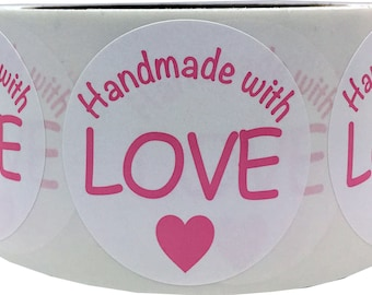 "500 Handmade with Love 2"" Inch Round White Stickers with Eco Friendly Hot Pink Ink"