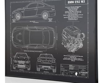 Bmw blueprint etsy bmw e92 m3 laser engraved wall art poster blueprint sign artwork to make the best malvernweather Images