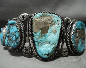 Opulent Vintage Navajo **tight Swirls** Silver Turquoise Bracelet