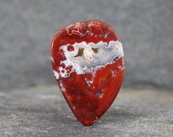 Brenda Red Agate Cabochon, Brenda Agate, Natural Red Plume Agate, Rare Gemstone Cabochon, Druzy Pockets, Loose Stone Cabochon, Jewelry Stone