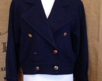 Yves Saint Laurent Variation bomber, double breasted, wool jacket cropped coat