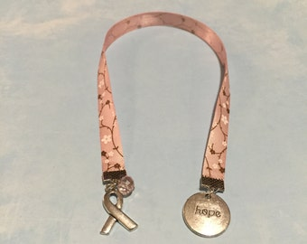 Awareness Ribbon Bookmark~Breast Cancer Awareness Bookmark-HOPE Bookmark-Pink Awareness bookmark-Hope charm bookmark-Pink-Cancer Awareness