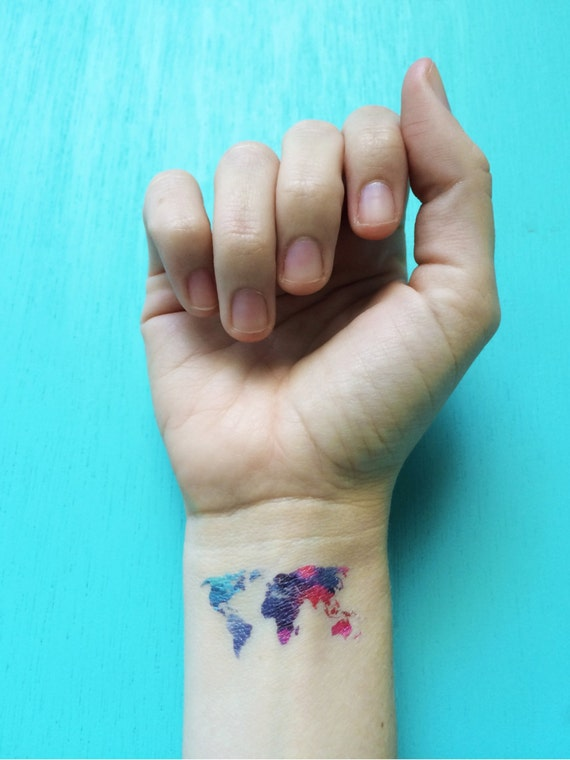 World map temporary tattoos watercolor tattoo valentines day world map temporary tattoos watercolor tattoo valentines day gift 3 festival tattoos wanderlust fake tattoos colorful tattoos for her gumiabroncs Gallery
