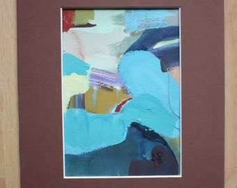 Casual Wanderings original 5x7 acrylic oil pastel watercolor abstract painting matted 8x10