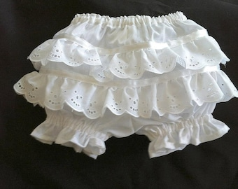 Adult size White Diaper Cover with Lace Ruffles on Back sizes Small through 3XL