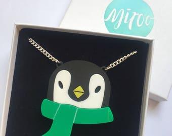 Penguin Necklace, penguin gift, Penguins, acrylic jewellery, statement necklace, plastic jewellery, acrylic necklace, Penguin