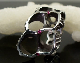 Ruby Ring, Shell Ring, Sterling Ring, Silver Ring, OctopusME, Ring - Futuristic ring with Rubies, Mad Max, Octopus ME, Beach Jewelry, Ruby
