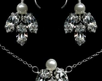 Wedding Jewellery Set Vintage Bride Necklace and Earrings made with Swarovski Crystal Rhinestones & Pearls