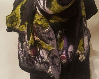 Black Elegant Femine Unique silk chiffon felted Scarf