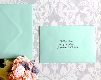 Digital Calligraphy / Return Address Printing on Envelope / Custom Personalized Printed Envelopes for Wedding Invitations & RSVP Cards