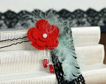 Bun Hairpin Red Crocheted Flower, Green Feather