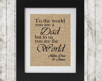 Gift for Dad - Gift for Father Personalized - To the world you are a Dad - Gift for Fathers - Dad Gift Personalized
