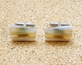 Groomsmen cuff links Gemstone cuff link Vintage Mens cufflinks Vintage jewellery Agate cufflinks June birthstone Dad cufflinks mens jewelry