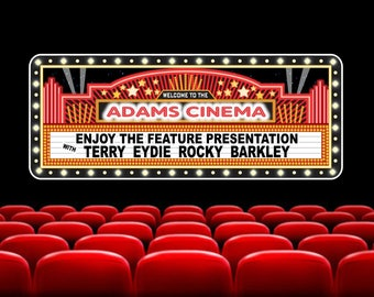 Personalized Marquee Theater Sign With Faux Neon Light Border, Home Theater  Decor, Theater Signs