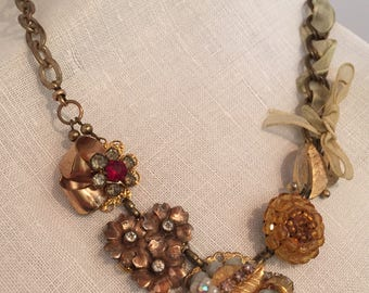 Lace & Pearls, Assemblage Necklace, Antique Repurposed Upcycled Beauty, Steampunk, Boho