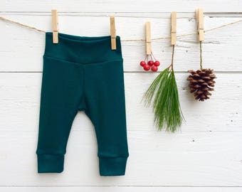Emerald Green Baby Pants, Baby Leggings, Knit Baby Pants, Dark  Green Baby Leggings, Gender Neutral,  Baby Boy Clothes, Baby Girl Clothes