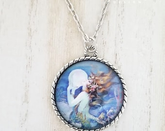 Mermaid Pendant Necklace- Ocean Necklace-Mermaid Jewelry-Beach Necklace-Mermaid Goddess-Mythical Creature Collection