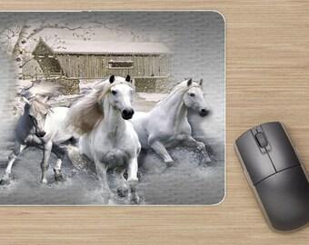 tapis de souris, cheval blanc, cheval, horse, home déco, bureau, idée cadeau, pour lui, pour elle