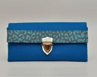 Wallet, women purse, fabric purse, vegan, blue, Leo