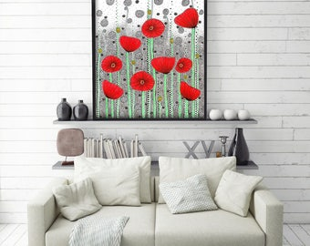 "Original Drawing - Poppy Field - 8.5x12"" up to 24x34"" Art Print, Wall Decor, Illustration"